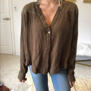 Free people green button down top